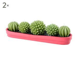 SET di 2 candele con vaso in resina Cactus - 27x7x8 cm