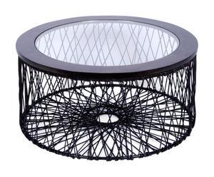 Tavolino in vimini e vetro Garden - 39x80 cm
