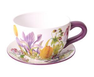 tazza portapiante in ceramica bouquet - d 23/H 16 cm