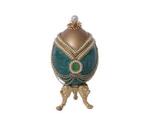 Uovo decorato a mano con strass e perline Muschio - 5x11 cm