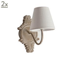 set di 2 apllique in legno di pino e cotone shabby beige e bianco - 13x26x23 cm