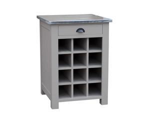 mobiletto portabottiglie a 12 spazi e top in zinco Isidore - 67x65x90 cm