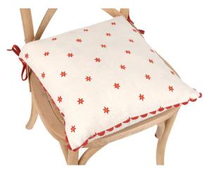 cuscino per sedia in cotone bianco e rosso - 40x40 cm