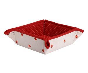 cestino per pane in cotone rosso e bianco - 34x34 cm