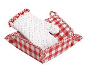 set da cucina in cotone rosso e bianco - 31x17 cm