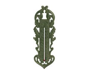 termometro in ghisa verde flower - h 30 cm