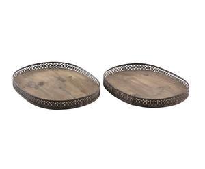 set di 2 vassoi in legno e metallo lucette - max 43x31 cm