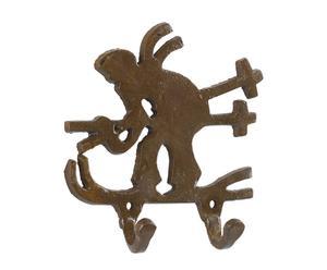 appendiabiti a 2 ganci in ferro marrone skieur - 13x12 cm