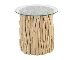 tavolino in legno e vetro natural - 50x40 cm