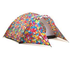 Tenda con accumulatore di energia solare in poliestere - multicolor