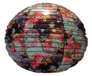 Paralume in rattan e cotone Vintage flower - 50x50x50 cm