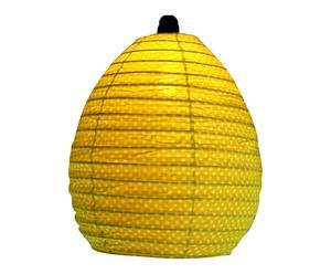 Paralume in rattan e cotone Lime Dot - 35x35x40 cm