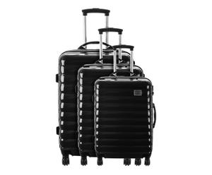 set di 3 trolley in policarbonato nero drouit - 50/60/70 cm