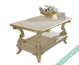 Tavolino rettangolare a 2 livelli con piano in legno Raffaello