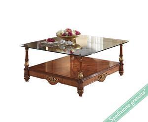 Tavolino quadrato con piano in cristallo Raffaello