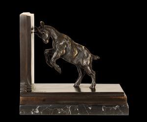 Scultura fermalibro in bronzo patinato CAPRETTA - 20X21X11 cm
