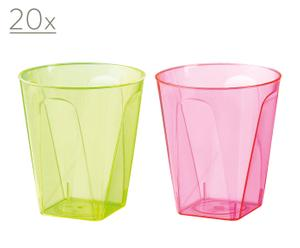40 Bicchieri in plastica Chupitos (20 verdi + 20 rosa) - da 10 cl.