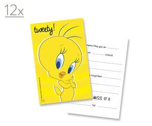 12 Biglietti party invito giallo Tweety Yellow
