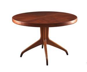 Tavolo rotondo da pranzo in teak - design scandinavo anni '60