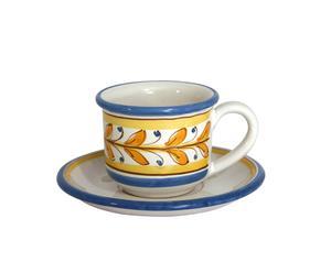 Set colazione (tazza + piattino) giallo/azzurro