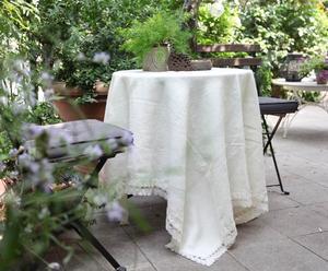 Tovaglia in puro lino con pizzo di cotone panna - 185X135 cm