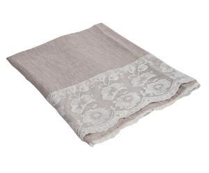 tovaglia in puro lino e pizzo retro' beige - 135x135 cm