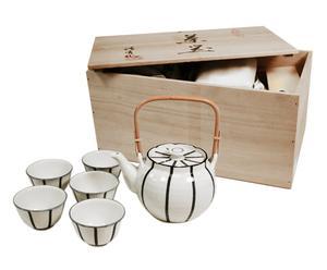 Set di 1 teiera + 5 tazze da the Ichin Tokusa - con scatola in legno