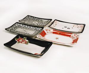 Set di 5 piatti rettangolari Saiegawari