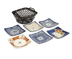 Set di 6 piatti + 1 cestino Saiegawari