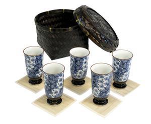 Set di 5 tazze alte con sottotazza + cestino Umekomon