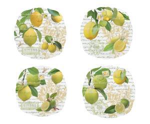 Set di 4 piatti dessert + confezione regalo citrus - Ø 20 cm