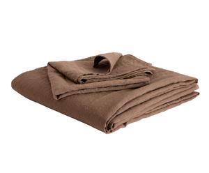 Parure di lenzuola singole e federa in lino Bordi&Cornici fango
