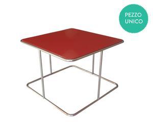 Tavolino Jolly quadrato by Enrico Buscemi e Piergiorgio Leone - rosso