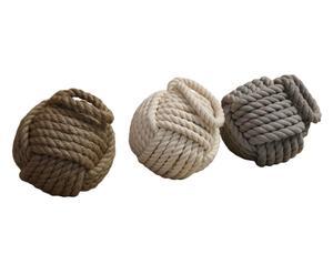 Set di tre fermaporta/fermalibri in vera corda di iuta