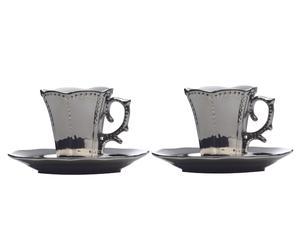 Set di 2 tazzine con piattino Gothic Moka tinta argento - H 9 cm