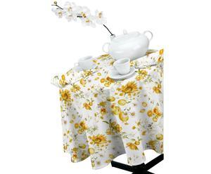 Tovaglia con 6 tovaglioli in cotone Summer Flowers Mirabello- 150x180 cm