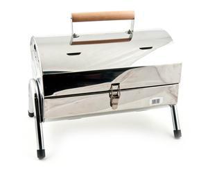 Barbecue portatile in acciaio con doppia griglia - 27,5X20X14 cm