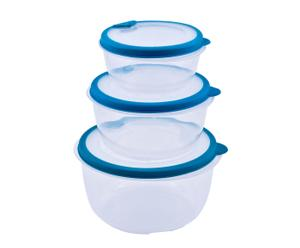 Set di 3 contenitori per alimenti tondi azzurro Fresco