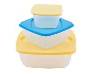 Set di 3 contenitori per alimenti quadrati azzurro/giallo Fresco