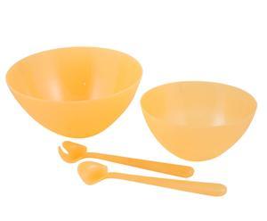 Set da insalata in PVC giallo Pic Nic (2 ciotole + 2 posate) - Ø 30/23 cm