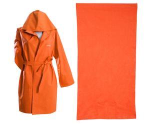 Set di telo mare e accappatoio in ecofibra arancione Robes
