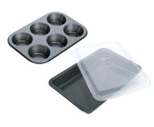 Set di 1 teglia con coperchio + 1 stampo per muffin