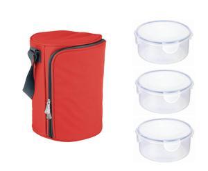 Set di 1 borsa termica rossa + 3 contenitori per alimenti BAG