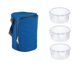 Set di 1 borsa termica blu + 3 contenitori per alimenti BAG