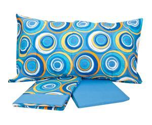 Completo di lenzuola per letto matrimoniale Daydream - cobalto