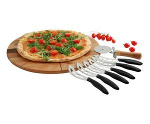 Set pizza WD (1 tagliere, 1 tagliapizza, 6 coltelli) - Φ 40,2cm/H 2 cm