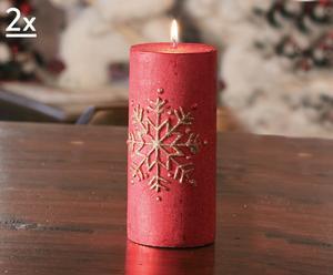Set di 2 candele decorative Fiocco rosse - A 15 cm