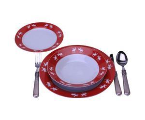 Servizio di 18 piatti in ceramica rossa
