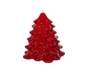 Candela in cera Albero di Natale rosso - A 14 cm