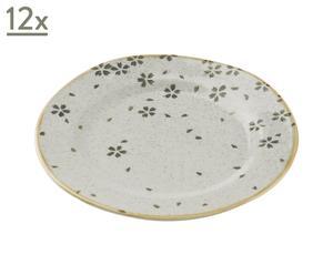 Set di 12 piatti da dessert in ceramica gres Tirli - D 22 cm